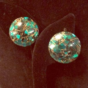 Green & gold confetti lucite clip on earrings